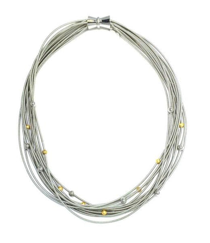 Silver Piano Wire Necklace with Silver and Gold Beads