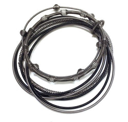 Black Mixed Texture Piano Wire Bracelet
