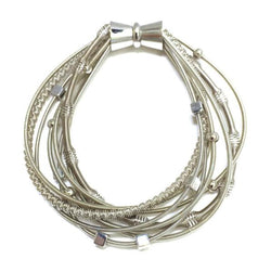 575SIL-M: Silver Multi Strand Piano Wire Bracelet with Magnetic Clasp