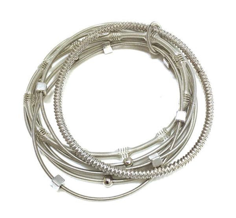 Silver Mixed Texture Piano Wire Bracelet