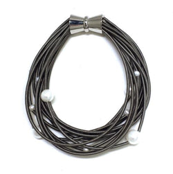 Slate Piano Wire Bracelet with White Freshwater Pearls