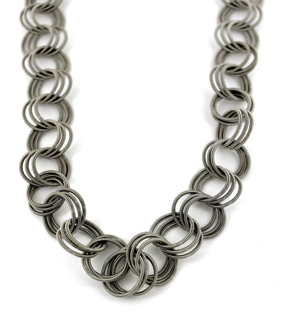 Silver Long Loop Piano Wire Necklace