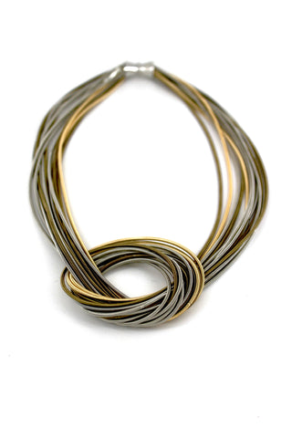 Silver and Gold Multi Large Knot Piano Wire Necklace