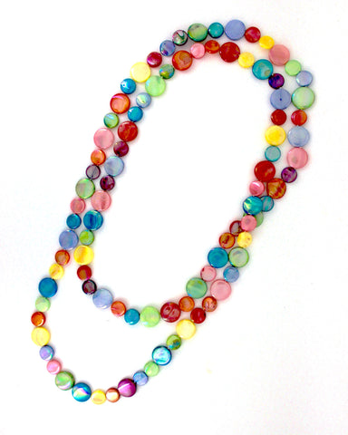 Fruit Salad Single Strand Mother of Pearl Necklace