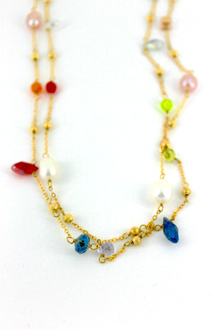 Gold Long Multi Gem Necklace