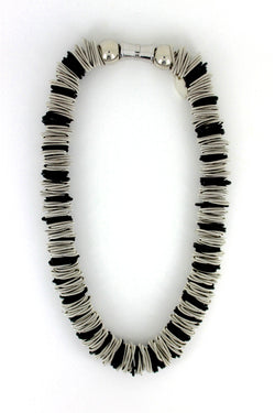 Silver and Black Spring Ring Necklace