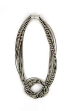 Silver Large Knot Piano Wire Necklace