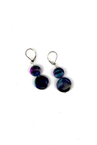 Navy Mother of Pearl Earring