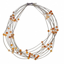 Silver 10 Layer Necklace with Apricot Geode Stones