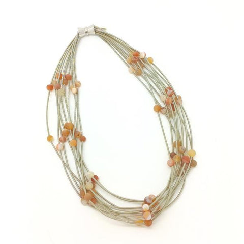 Silver 10 Layer Piano Wire Necklace with Apricot Geode Stones