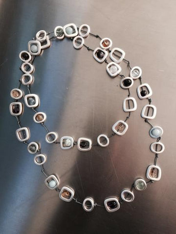Long Silver Geometric with Mixed Natural Stones