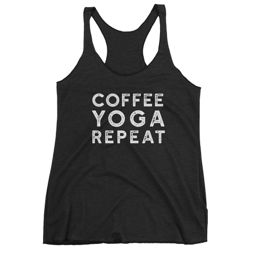 Coffee Tea Repeat Tank Dark