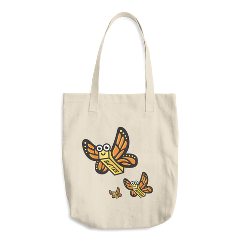 Butterfly Flock Cotton Tote Bag