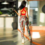 One Piece Sexy Gym Clothing Suit Floral Print Backless Padded Yoga Set Fitness Running Tight Dance Sport Wear Gym Clothes