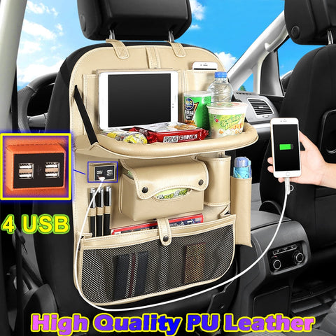 (4 USB) High Quality Leather Car Rear Seat Organizer Multi Pocket Car Seat Back Bag Car Travel Organizer with Tray for Children