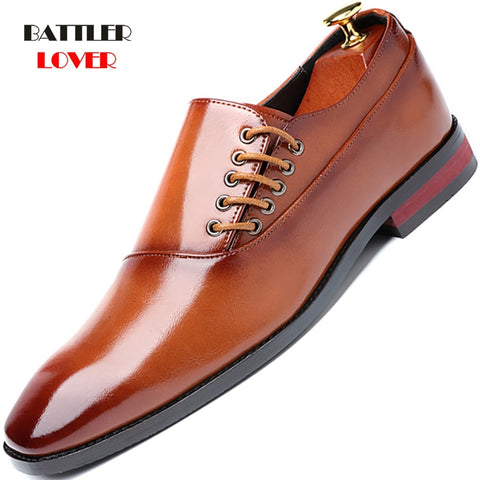 Men's Dress Shoes  Formal Business Oxfords Vintage Men Elegant Genuine Leather Flat Shoes Male Party Wedding Shoe