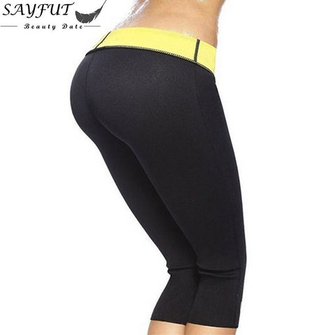 SAYFUT Fashion Women Hot Sweat Sauna Body Shapers Neoprene Body Shaper Weight Lose Fat Burne Slimming Waist Slim Pants