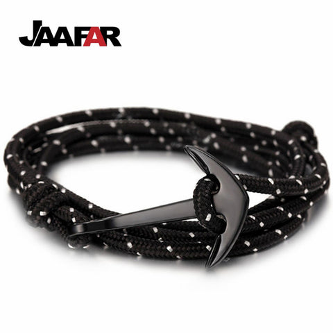 Hot Fashion Jewelry Multilayer Risers Scrub Black Alloy Anchor Bracelet Men Leather Bracelet for Women&Men friendship bracelets