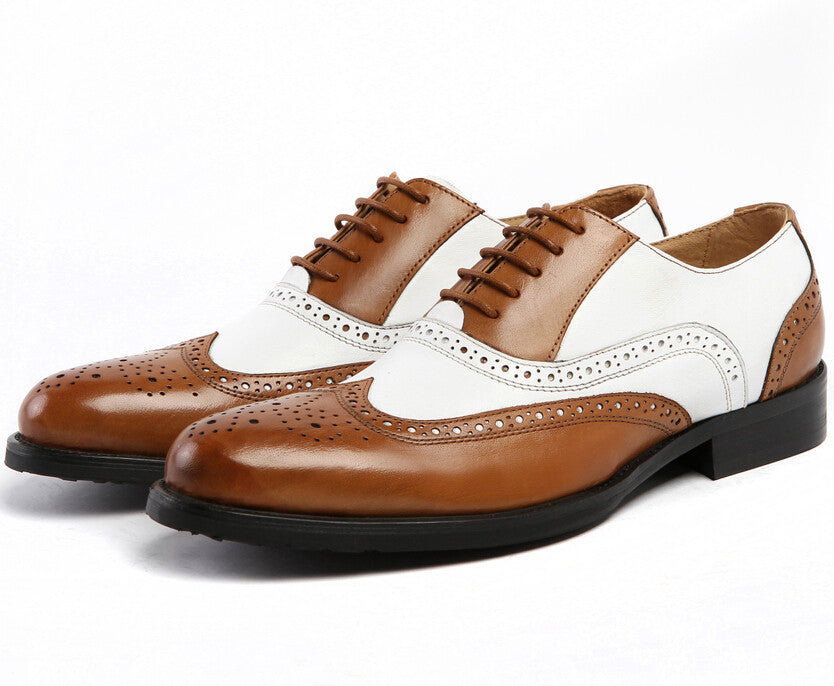 Large Size Black White Brown Mens Wedding Shoes Genuine Leather Dress Formal Oxfords