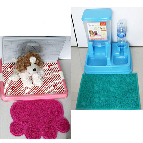 Pet Dog Puppy Cat Feeding Mat Pad Cute Paw PVC Bed Dish Bowl Food Water Feed Placemat Wipe Clean Pet Supplies PC674516