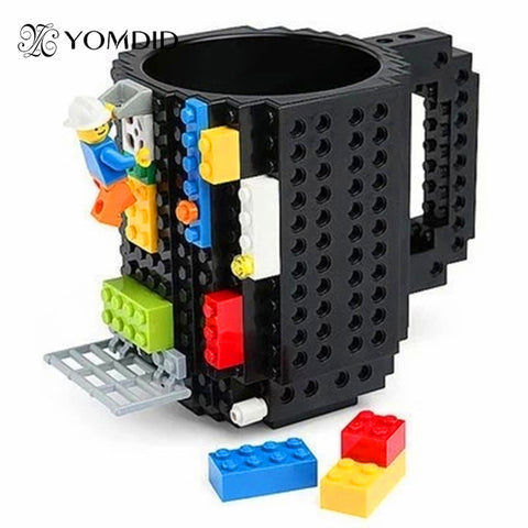 Build-On Brick Mug DIY Bulding Blocks Coffee Mugs 350 ml Creative Drinkware BPA Free Legoe mug Birthday Gifts Tazas