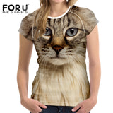 FORUDESIGNS Black Cat Printing Women T Shirt 3D Cat Dog T-Shirt