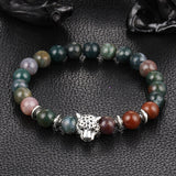Wholesale Antique Silver Plated Buddha Leopard head Bracelet Lava Natural Stone Beaded Bracelets For Men Women Pulseras Hombre