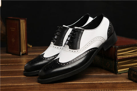 Large size black white / brown white mens wedding shoes genuine leather dress shoes formal oxfords shoes