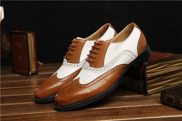 0051c4f2f8bf ... Large size black white   brown white mens wedding shoes genuine leather dress  shoes formal oxfords ...