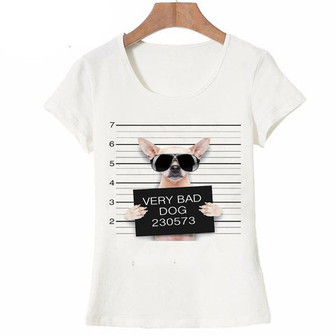 Summer Unique Police Chihuahua Design T Shirt Women's short sleeve very bad dog print Tops cool Hipster tees cute girl t shirt