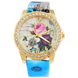 Women Watches Flower Rhinestone Luxury Lady Wristwatches Leather Fashion Causal Dress Watch Women Quartz Watch Bracelet Watches