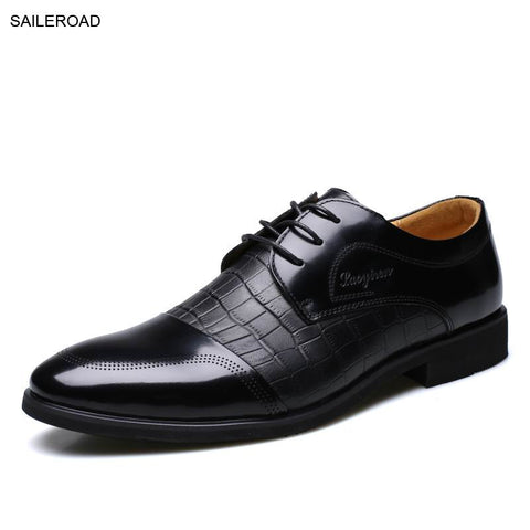 Fashion Genuine Leather Men Oxford Shoes For Men Lace Up Casual Business Men Shoes Men Wedding Shoes Mens Dress Shoe SAILEROAD