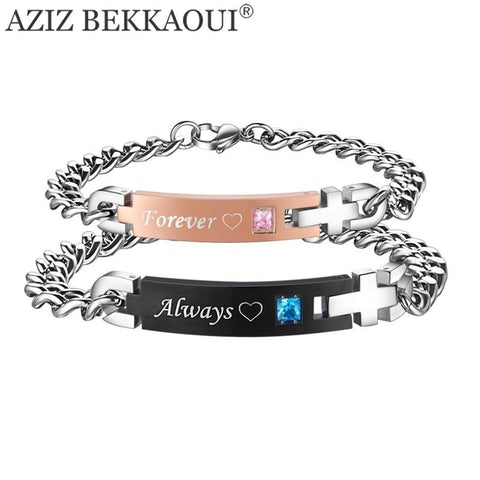 Always & Forever Matching Couple Bracelets with AAA CZ Stone Stainless Steel