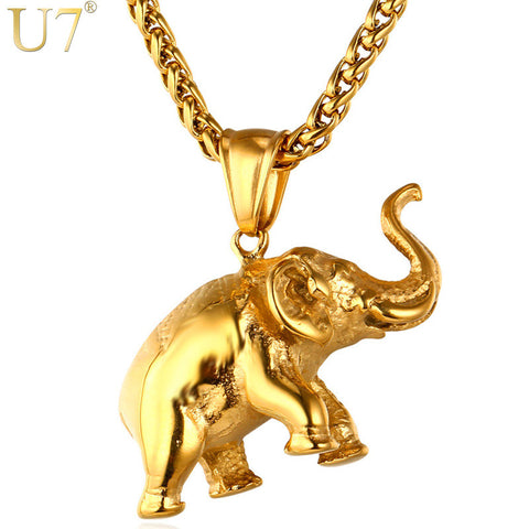 U7 Stainless Steel Gold Color Elephant Necklace Trendy Men Jewelry Charm