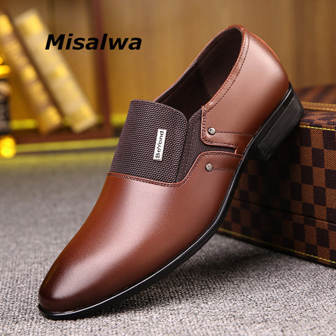 Misalwa Spring Autumn Men Formal Wedding Shoes Luxury Men Business Dress Shoes Men Loafers Pointy Shoes Big Size 38-47