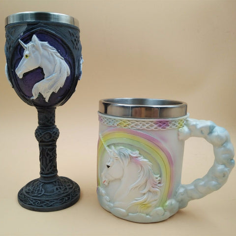 LIYIMENG 3D Coffee Milk Mug Whisky For  Unicorn Double Wall Wine Goblet  Novelty Cute Mug Ceramic Creative Coffee Tea Gift