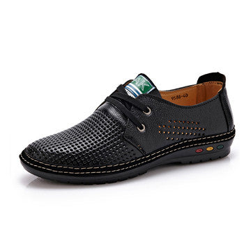 Genuine Leather Men casual shoes Summer  Breathable Soft Driving Men's Handmade chaussure homme Net Surface Loafers