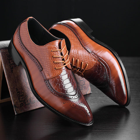 Fashion Leather Men Dress Shoes Pointed Toe Bullock Oxfords Shoes For Men, Lace Up Designer Luxury Men Shoes M067