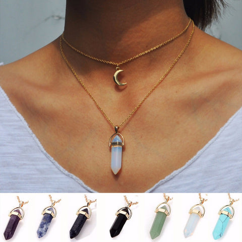 Best Friends Crystal Opals Natural Stone Quartz Chokers Women Moon Pendant Necklace