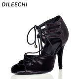 DILEECHI Red Black Zebra satin Latin dance shoes women ballroom dancing shoes wide/ narrow foot Salsa high-heel 10cm heel height