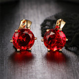 17KM New Fashion Statement bijoux 7 Color Vintage Punk Silver Color Crystal Flower Stud Earrings for Women Wedding Love Earring