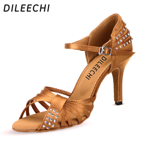 DILEECHI female Latin dance shoes Bronze black satin diamond soft bottom high-heeled 8.5cm Salsa party ballroom dancing shoes