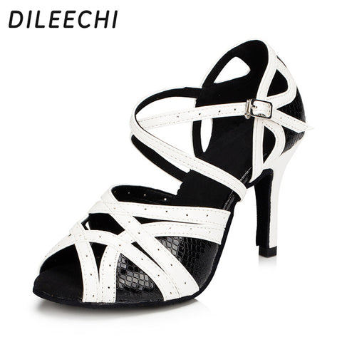 DILEECHI new Women's Latin dance shoes spot Black white Baroom dancing shoes Salsa Party Square shoes 8.5cm High heels Plus size