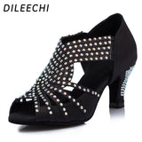 DILEECHI Diamond Black Satin Women's Latin dance shoes Wedding Salsa Tango Party Square dance shoes 6cm Medium heel