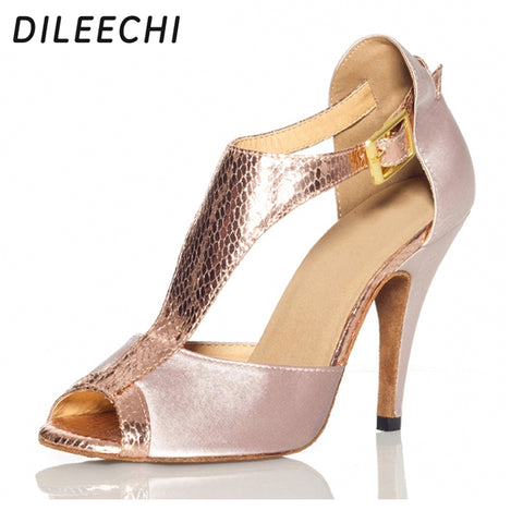 DILEECHI Skin Satin red Women's Latin dance shoes Ballroom dancing shoes Salsa Samba Tango Square dance shoes High heel 8.5cm