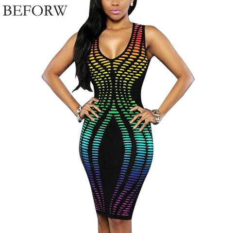BEFORW Sexy Women Dress Fashion Casual Summer Sleeveless Dresses Office Printing Sexy Slim Tight Nightclub Party Dress Big Size