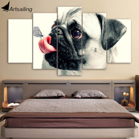 HD Printed 5 Piece Canvas Art Cute Pet Dog Painting Pugs Wall Pictures for Living Room Framed Poster Free Shipping NY-6960A