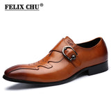 Italian Fashion Men Black Brown Dress Shoes Genuine Leather Slip On Man Formal Suit Footwear with Buckle #185-01