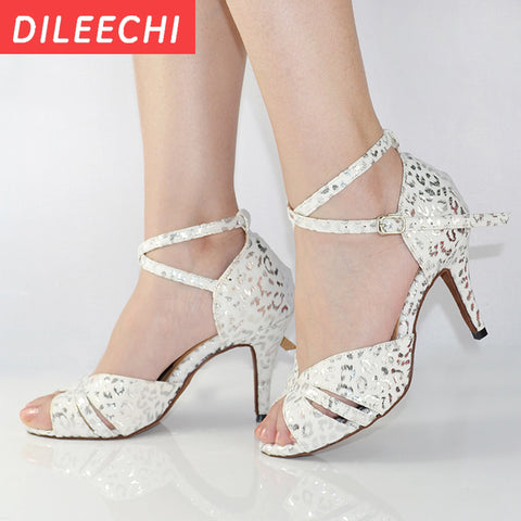 DILEECHI White red print PU Latin dance shoes Women's Ballroom dancing shoes Salsa Tango Square dance shoes High heels 8.5cm
