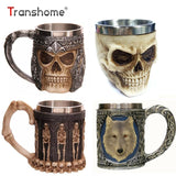 Trasnhome 3D Creative Skull Mug Double Wall Stainless Steel Tea Milk Bottle Coffee Mug Skull Knight Tankard Drinking Mug Design